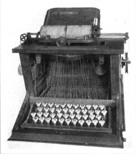 <em>An early typewriter similar in form to the </em>Übersetzungmaschine<em>, no photograph of which exists.</em>