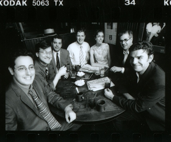 Outtake from a <em>Hermenaut</em> staff portrait. From left: Joshua Glenn, Chris Fujiwara, Michael Lewy, Tony Leone, Ingrid Schorr, Scott Hamrah, James Parker.