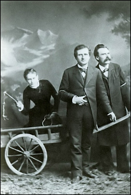 1882 photo of Lou Salomé, Paul Rée, and Nietzsche.