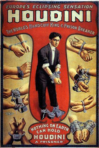 Houdini in una locandina di un suo spettacolo