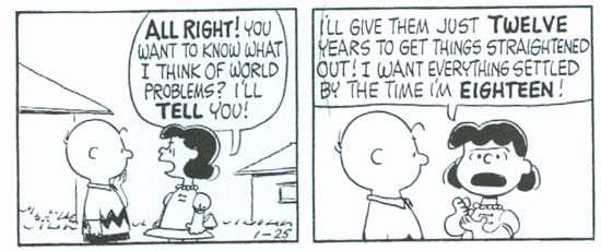 Charles Schulz's Lucy Van Pelt is a Blank. She first appears as a toddler in April 1952. This strip, in which she articulates the Blank Generation credo, was published in 1962 — i.e., when the oldest Blanks were 18.