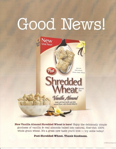 Post Shredded Wheat ad from <em>Real Simple</em>, 11/09