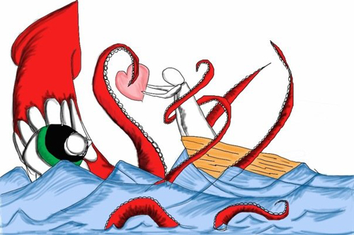 """Love & Tentacles"" WSInkDrip 02/17/2010 by Walter Sickert"