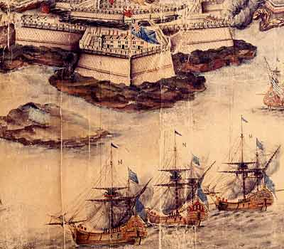 The Port of Mahon, from a 1764 engraving showing the Fort San Felipe