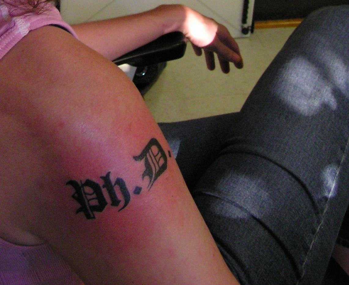 Amanda French PhD Diploma typeface tattoo