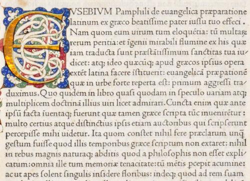 Eusebius, Evangelica. Jenson, Venice, 1470.