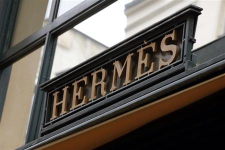 An Hermes sign is seen on one of their Paris stores
