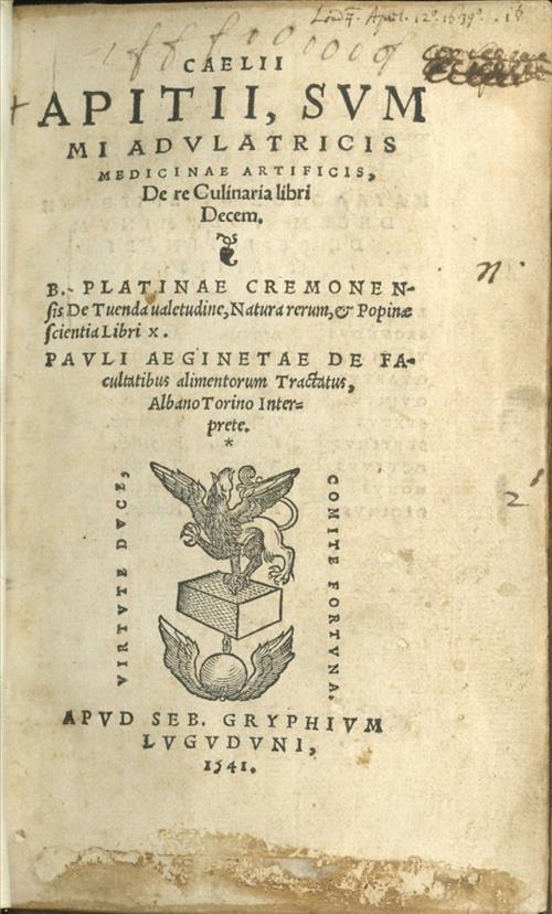 Title page of a 1541 edition of the 4th century Roman cookery referred to as Apicius
