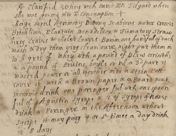 A Clarified Whey wch cured Mrs Tilgard when she was goeing into a Consumption, 1680
