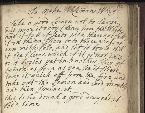 17th century lemon whey recipe