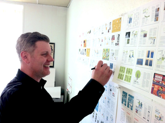 Tony working on the UNBORED Adventure bookmap.