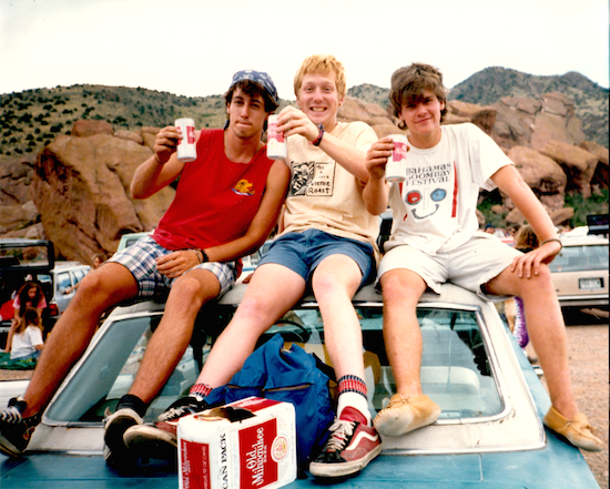Chris Page (middle) and Kent Modesitt (right), Red Rocks, August 1987