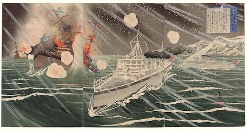 Shinohara_Kiyooki_-_1904_-_A_Righteous_War_to_Chastise_the_Russians_The_Destroyer_Force's_Night_Attack_(Chô_Ro_gisen,_kichiku_tai_yashû)
