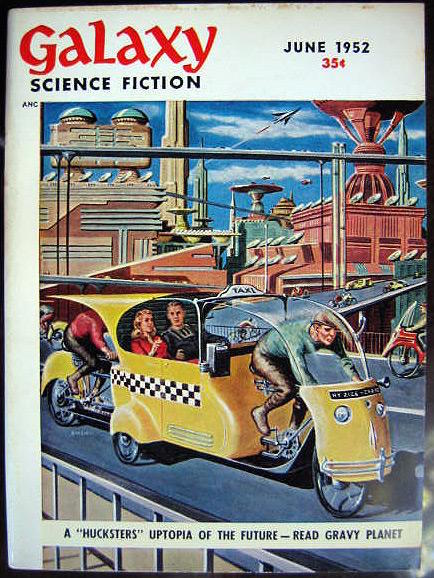 "POHL & KORNBLUTH 1952 June cover of first serial ""Gravy Planet"" by Emsh"