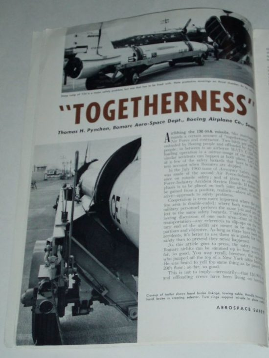 Pynchon in the December 1960 issue of Aerospace Magazine (via Invisible Literatures).