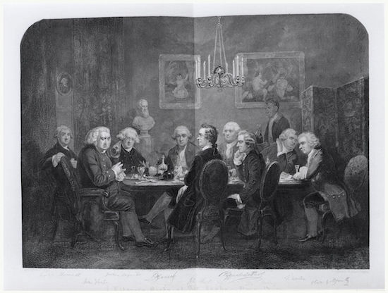 """""""A literary party at Sir Joshua Reynolds's"""", engraved by D. George Thompson after James William Edmund Doyle, 1851. Image via Wikimedia Commons."""
